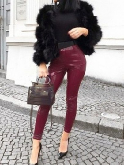 Pantalon longue en latex vinyle cuir slim mode femme leggings bordeaux