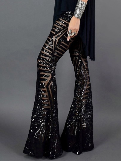 Black Sequin Geometric Print High Waisted Glitter Sparkly Birthday Party Flare Bell Bottom Long Pants