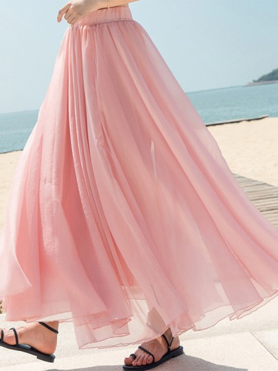 Pink Draped Chiffon Flowy High Waisted Elegant Going out Beach Maxi Skirt