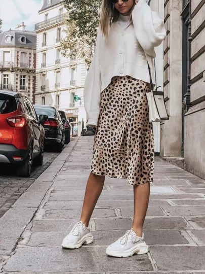 Brown Leopard Print Satin Going out Casual Fashion Homecoming Party Long Skirt
