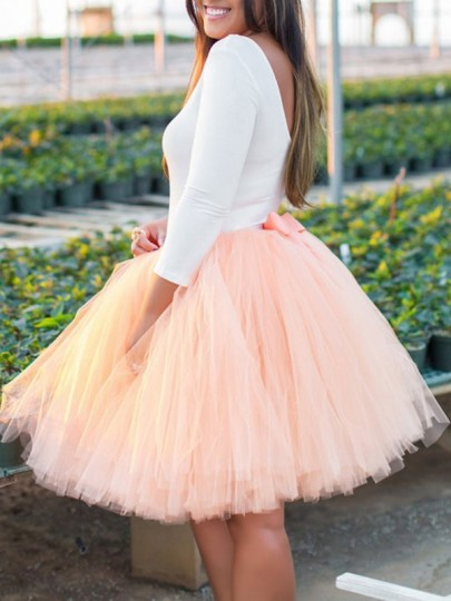 Pink Grenadine Bow Elastic Waist Sweet Bridesmaid Prom Tulle Tutu Mini Skirt