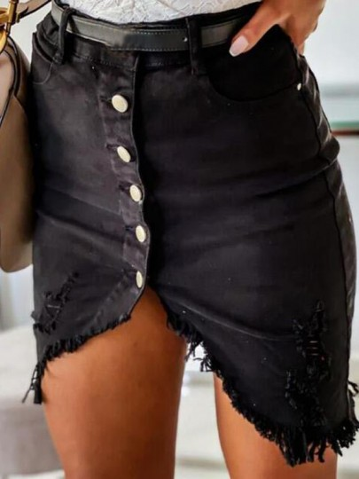 Black Single Breasted Irregular Ripped Distressed Pockets High Waisted Short Skirt