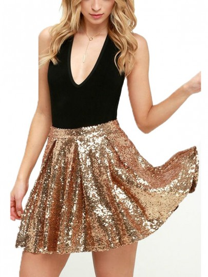 Golden Patchwork Sequin Pleated Sparkly Glitter Birthday Homecoming Party Skirt