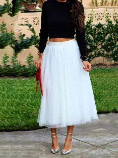 White Grenadine Pleated Elastic Waist Fluffy Puffy Tulle Homecoming Party Long Skirt