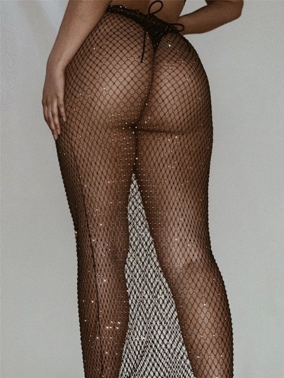 Black Cut Out Mesh Fishnet Sheer With Rhinestones Glitter Sparkly Party Skirt
