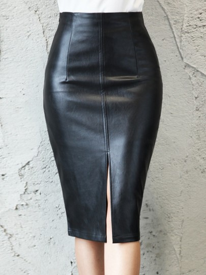 Schwarz PU Leder Schlitz High Waisted Bodycon Enges Elegant Midirick Party Damen Mode