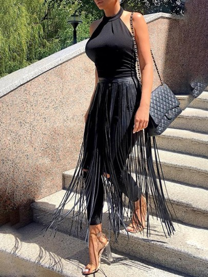 Black PU Leather Tassel High Waisted Clubwear Hot Midi Skirt