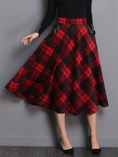 Red-Black Plaid Print Pockets High Waisted Skate Skirt Christmas Wool Midi Skirt