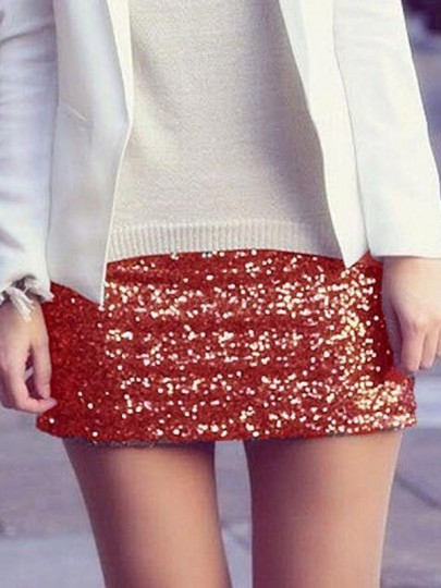 Jupe sequin glitter scintillant taille haute taille plus bodycon nye banquet party short rouge