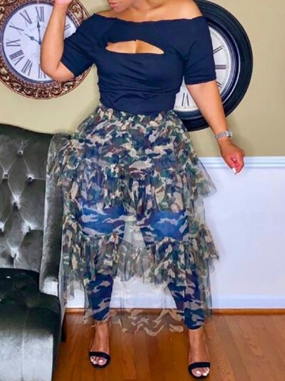 Army Green Camouflage Pattern Cascading Ruffle Grenadine High Waisted Long Skirt