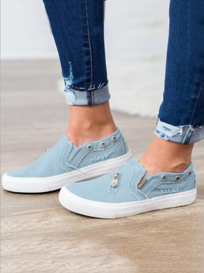 Blue Round Toe Zipper Fashion Casual Flat Shoes