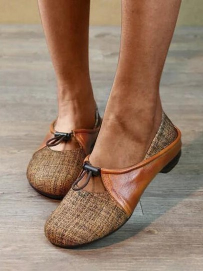 Brown Round Toe Patchwork Fashion Casual Flat Shoes