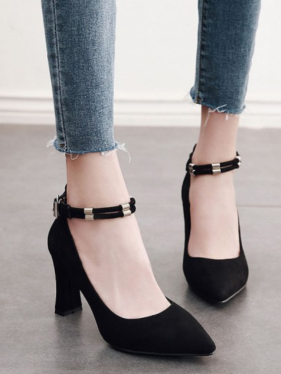 Chaussures point chunky boucle mode casual talons hauts noir