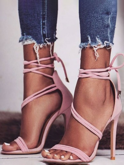 Pink Round Toe Cross Strap Fashion High-Heeled Shoes
