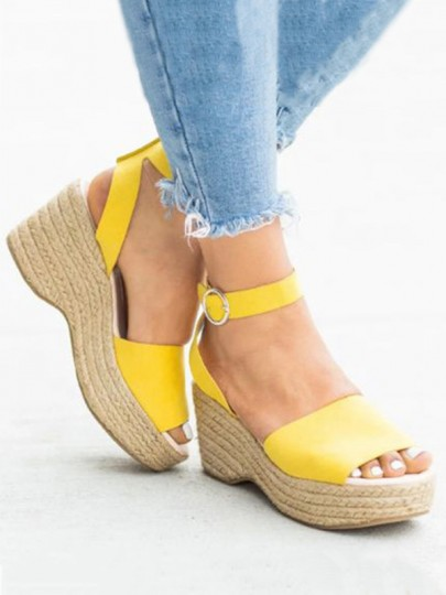 Yellow Round Toe Wedges Fashion High-Heeled Sandals