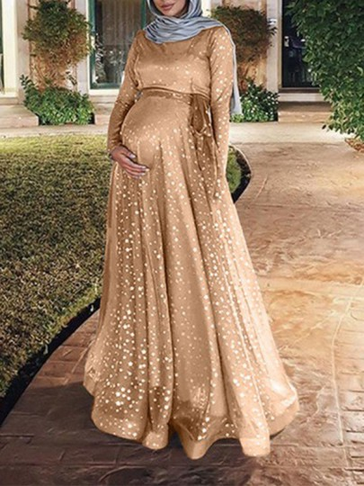 Golden Patchwork Grenadine Sequin Sashes Flowy Muslim Sparkly Banquet Party Maternity Maxi Dress
