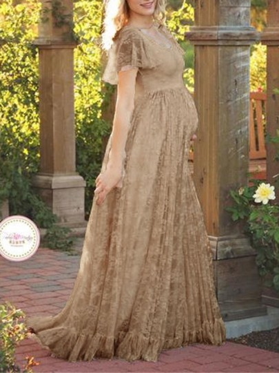 Coffee Patchwork Lace Ruffle Short Sleeve Maternity Maxi Dress For Babyshower