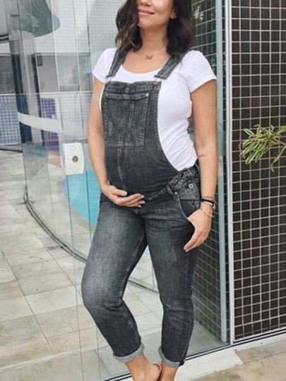 Grey Pockets Overall Pants Dungarees Denim Maternity Long Jumpsuit