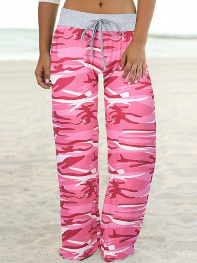 Rosa Camouflage Print Kordelzug Taille langes breites Bein Palazzo Pants Lounge Bottoms