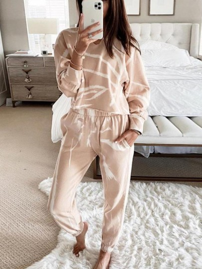 White Tie Dyeing Pockets Two Piece Casual Long Jumpsuit Sleepwear Pajama Sets