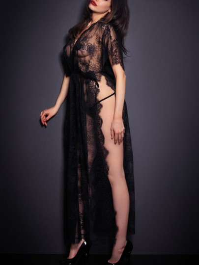 Black Lace Cut Out V-neck Short Sleeve Double Slit Two Piece Sheer Night Robe