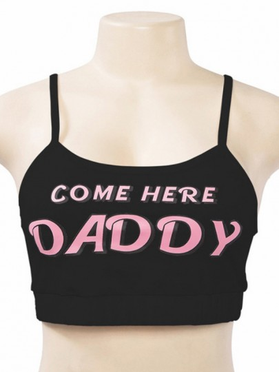 """Black """"DADDY"""" Letter Print Shoulder-Strap Square Neck High Waisted Two Piece Night Sets Nightwear"""