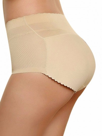 Cintura normal push up big booty shorts lencería bragas beige