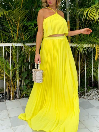 Yellow Pleated Halter Neck Two Piece Holiday Bohemian Maxi Dress