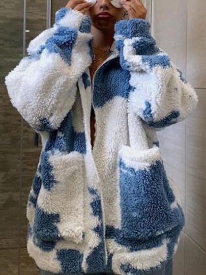 Blue-White Patchwork Cows Print Pockets Fuzzy Teddy Wool Coat