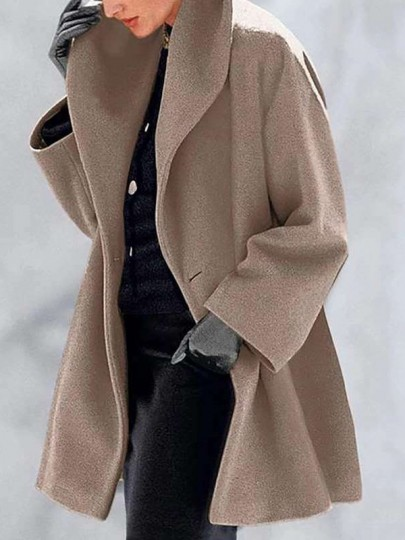 Camel Patchwork Buttons Turndown Collar Going out Wool Coat