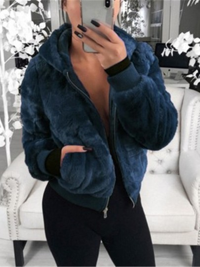 Blue Patchwork Zipper Pockets Hooded Going out Coat