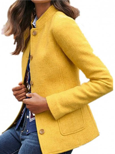 Yellow Patchwork Buttons Pockets Tailored Collar Going out Wool Coat