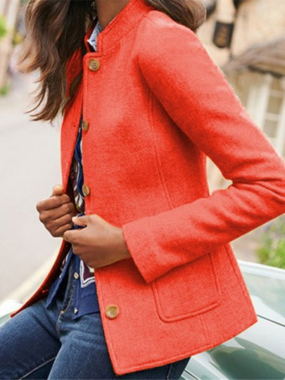 Orange Patchwork Buttons Pockets Tailored Collar Going out Wool Coat