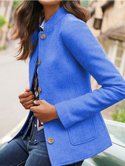 Blue Patchwork Buttons Pockets Tailored Collar Going out Wool Coat