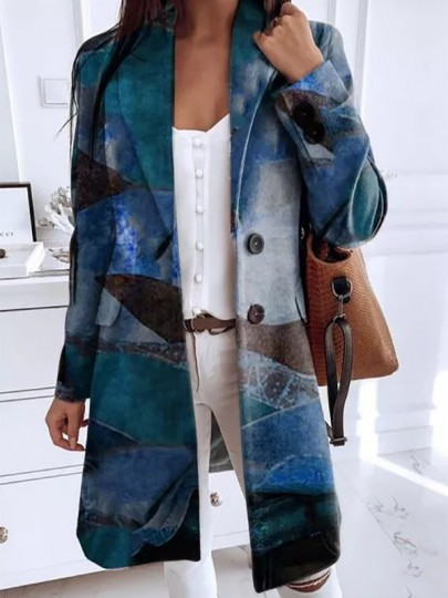 Blue Floral Buttons Pockets Turndown Collar Going out Wool Coat