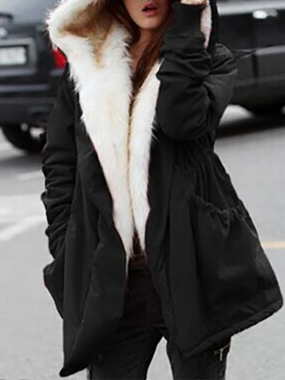 Black Patchwork Pockets Drawstring Hooded Going out Padded Coat