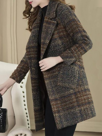 Blue Plaid Buttons Pockets Turndown Collar Going out Wool Coat
