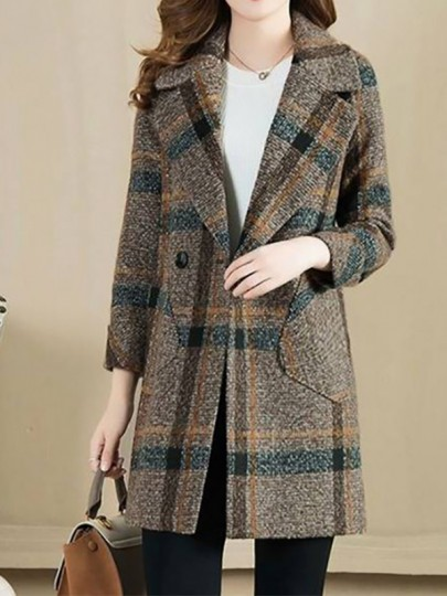 Yellow Plaid Buttons Pockets Turndown Collar Going out Wool Coat
