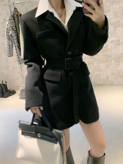 Black Patchwork Buttons Belt Turndown Collar Going out Jacket