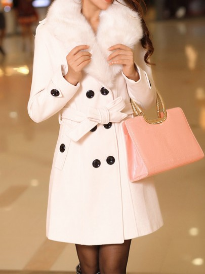 White Patchwork Buttons Plus Size Fur Collar Going out Wool Coat