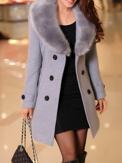 Grey Patchwork Buttons Plus Size Fur Collar Going out Wool Coat
