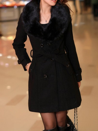 Black Patchwork Buttons Plus Size Fur Collar Going out Wool Coat
