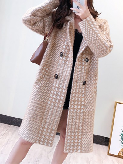 Khaki Plaid Buttons Pockets Turndown Collar Going out Wool Coat