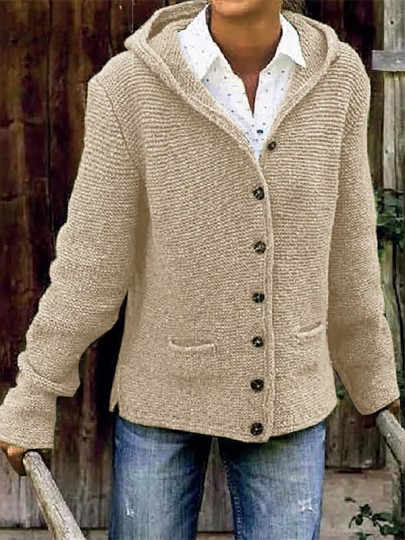 Khaki Patchwork Buttons Pockets Fashion Hooded Cardigan Sweater