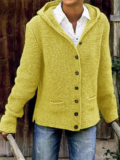 Yellow Patchwork Buttons Pockets Fashion Hooded Cardigan Sweater