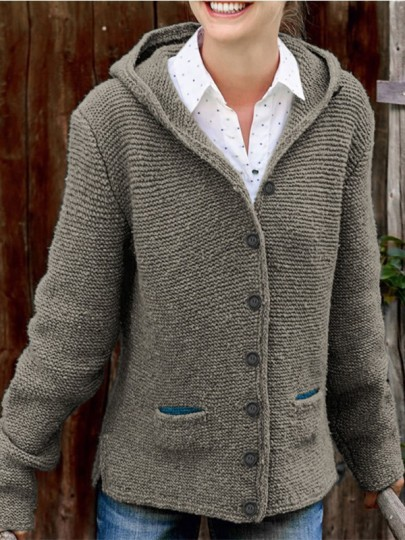 Grey Patchwork Buttons Pockets Fashion Hooded Cardigan Sweater