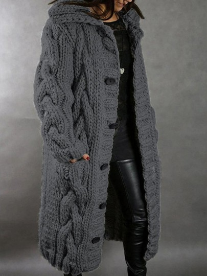 Grey Patchwork Buttons Pockets Hooded Fashion Cardigan Sweater