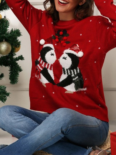 Pull col rond mignon rouge