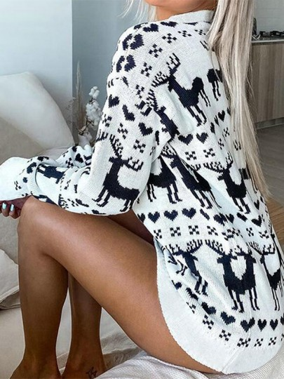 Pull col rond mode blanc