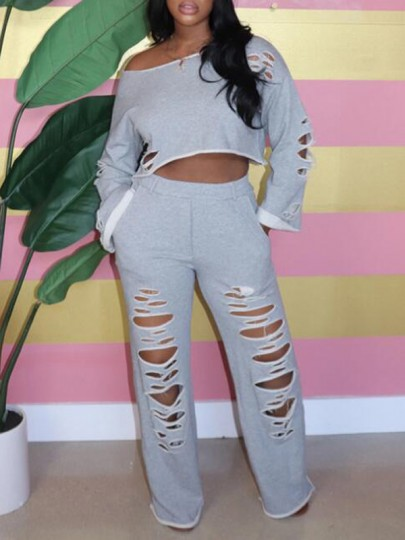 Grey Ripped Destroyed Cut Out Pockets Two Piece Casual Long Jumpsuit